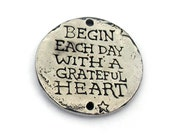 Grateful Heart Bird Coin Link Green Girl Studios Pewter