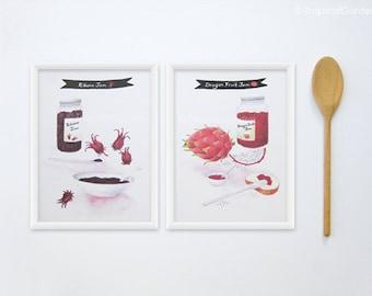 Jam Watercolor Print Set - Any FOUR 8x11 Kitchen Art & Food Print - Kitchen Poster / Kitchen Decor