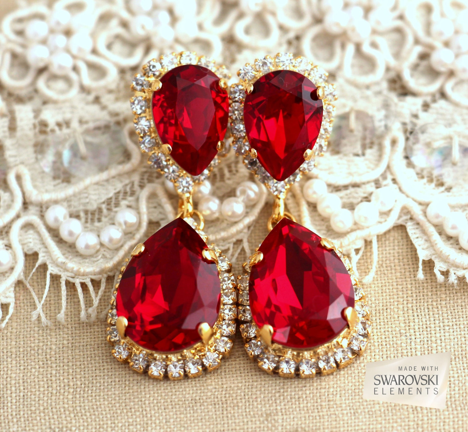 Red Diamond Chandelier Earrings: Ruby Chandelier Earrings Red Ruby Earrings Bridal Ruby By