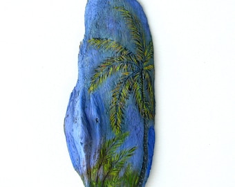 Driftwood Painting Tropical Palm Tree