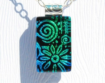 Fused Glass Jewelry, Dichroic Glass Pendant, Small - Doodles, Flower, Sun Swirl, Spring, Summer - Blue, Green, Black (Item #10588-P)