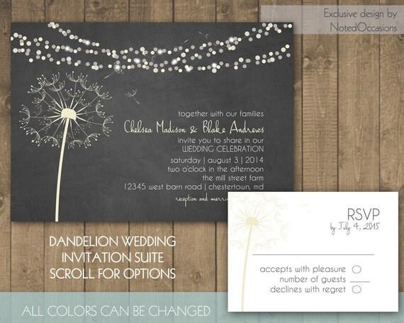 dandelion printable wedding invitation wildflower wedding invitation