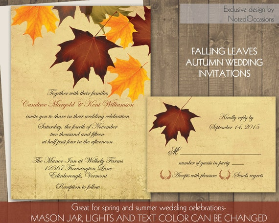 Diy Autumn Wedding Invitations: Fall Leaves Wedding Invitations Set DIY Printable Fall