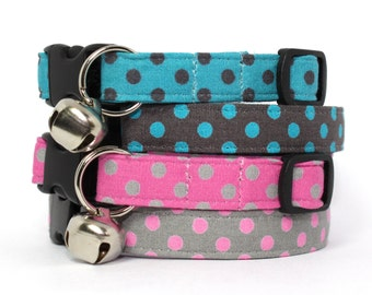 Polka Dots Collar Pink Grey Turquoise Teal Brown