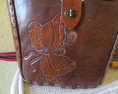 Vintage Tooled Leather Purse with Little Girl and Dandelion