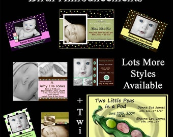 INSTANT DOWNLOAD - 20 Digital Birth Announcements - Photoshop templates - Photographer or Scrapbooker