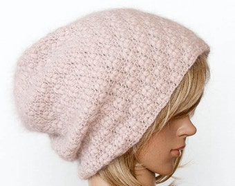 CROCHET PATTERN instant download - Bitterbloom Ash Beanie - rose pink angora powder hat cute tutorial PDF