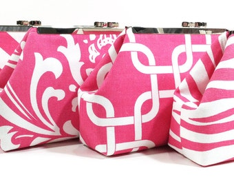 Bridesmaid Clutches Wedding Clutch Accessories Choose Your Fabric Pink Set of 4