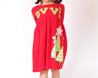 Girl's Christmas Dress - Personalized Christmas Dress- Tree  Applique Dress