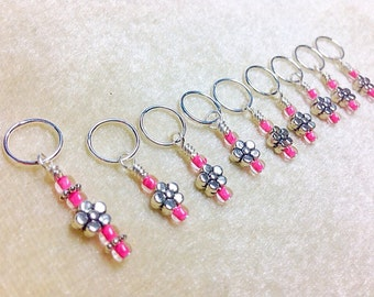 Knitting Stitch Markers, SNAG FREE Pink Flower Beaded Stitch Marker Set, Gift for Knitters, Crochet Tools