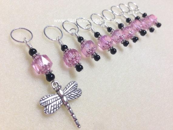 Beaded Knit Stitch Marker Pattern : Dragonfly Knitting Stitch Marker Set SNAG FREE Beaded Pattern