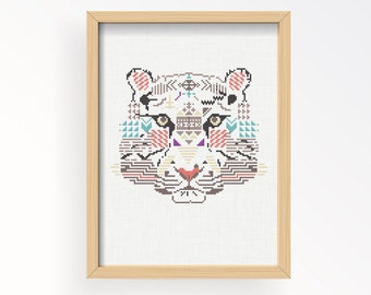 Tutorial TIGER WILD/ embroidery Cross Stitch .pdf / Instant Download