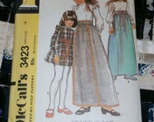 "1972 Vintage McCall's Pattern 3423 Girl's Skirt and Blouse, Size 14, Breast 32"", Uncut"