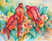 Watercolor Colorful Parrots Birds Tropical by Martha Kisling