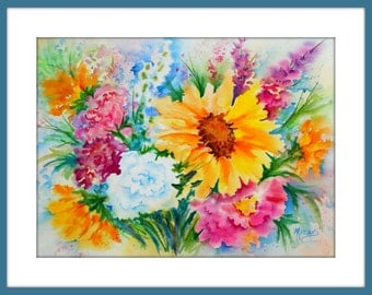 Watercolor of Colorful Flower Bouquet, Sunflower by Colorado Artist Martha Kisling