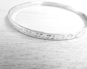 Coordinates bracelet GPS Coordinates bangle Coordinates bracelet engraved bangle engraved braclets Anniversary gift