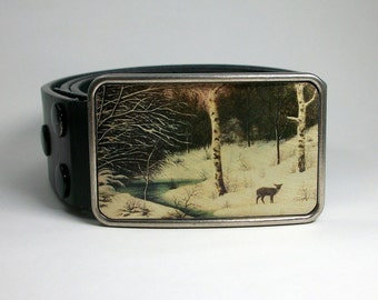 Belt Buckle Deer at Dusk