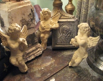 Trio Chalk Plaster Cherbus For wall hanging or embellishment! Or ornaments