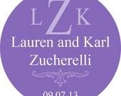 Custom Wedding Stickers - Monogram Wtih Names Personalized Stickers - Wedding Favor Stickers - Choice of Size