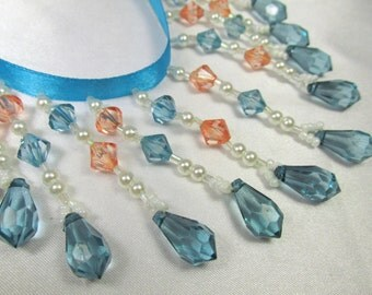 Blue Turquoise, Coral and White Pearl 3 inch Medium Beaded Fringing Trim for Bridal, Wedding, Craft or Home Decorator Beaded Trim