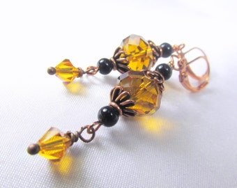 Black Agate and Gold Topaz Earrings with filigree copper beadscaps and beads on copper wires