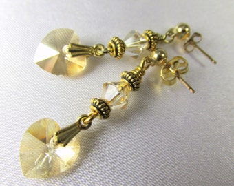 Swarovski Crystal Heart Earrings in Light Topaz on 14k Gold Fill Posts