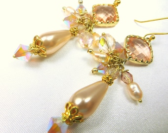 Champagne Peach Pearl Earrings with 22k wrapped Crystal Quarter on 14k Gold Fill Leverbacks  - Bridal or Everyday Earrings