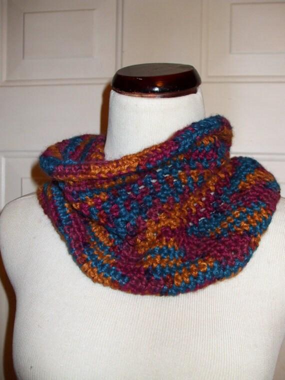 100% Wool Hand Crochet Neckwarmer - Multi