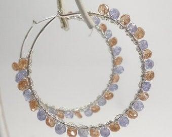 Tanzanite and Sunstone Sterling Hoop Earrings, Hoops w Faceted Tanzanite & Oregon Sunstone w Wirewrapped Sterling, Silver Gemstone Earrings