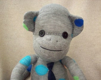 Sock monkey stuffed animal in grey with polka dots, sock monkey toy, sock monkey doll, monkey stuffed toy, baby shower gift