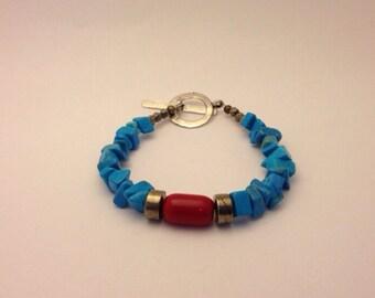 Bracelet pyrite et turquoise synthétique