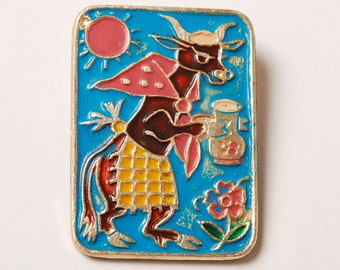 Vintage pin, Cow with milk pot,  Badge, from USSR