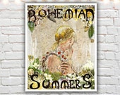 Bohemian Summers, mixed media painting, typographic print, bohemian art, hippie poster, art nouveau, bohemian girl, giclee print