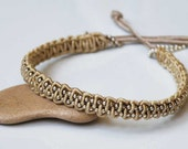 Simple macrame bracelet with ball Silver chain - Sterling Silver - Adjustable - Tan colored raw silk cord - Elegant timeless jewelry