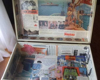 Hard Suitcase Upcycled with Vintage Travel Ads, Travel, Storage, Home Decor, Vacation Time