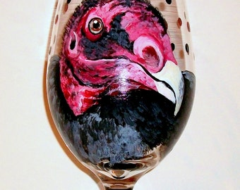 Turkey Vulture, Bird Portraits Wine Glasses Hand Painted Turkey Vulture, Falcon, Eagle, Pet Portrait, One  Hand Painted 20 oz. Wine Glass