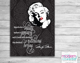 Marilyn Monroe Imperfection is Beauty Printable Digital Print - 8x10 Wall Art Print, Typography, Room Wall Decor, Nursery Art, Birthday Gift