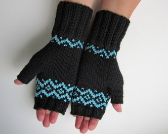 Fingerless Mittens Black and Aqua Hand Knit Fairisle