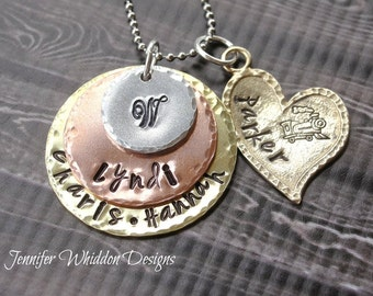 Personalized Mother's Necklace,Hand Stamped Mother's Necklace, Stacked Mother's Necklace, Grandmother's Necklace