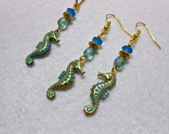 Brass Seahorse Necklace and Earrings Set, Gold Brass Verdigris Necklace Set