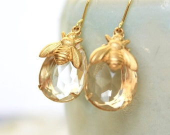 Honey Bee Earrings Summer Jewelry Gold Bumblebee Drop Earrings Crystal Clear Glass Insect Gift for Women Honeybee Earring Spring Jewelry
