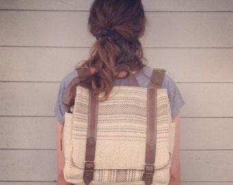 Custom hand woven backpack messenger laptop bag