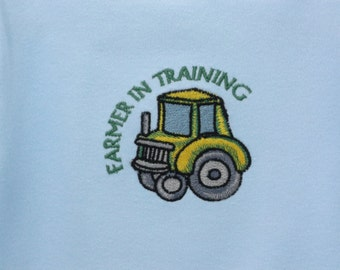 Baby Clothes Farmer in Training Tractor embroidered onesie design on a one piece bodysuit long or short sleeved (JL045)