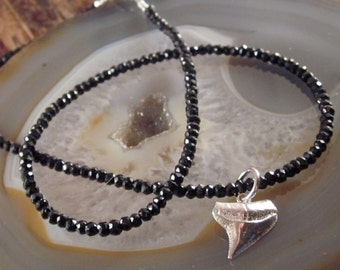 Shark Tooth Necklace Black Spinel Beaded Necklaces Gift for Her Sterling Silver Shark Tooth Pendant Silver Shark Tooth Charm Womens Necklace