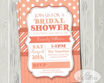 Coral Invitation | Wedding, Bridal Shower, Baby Shower, Couples Shower, Shabby Chic, Modern, Herringbone, Polka Dots | INSTANT DOWNLOAD