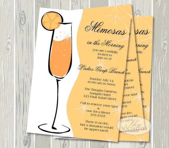 mimosa invitation champagne brunch bridal shower brunch, Birthday invitations
