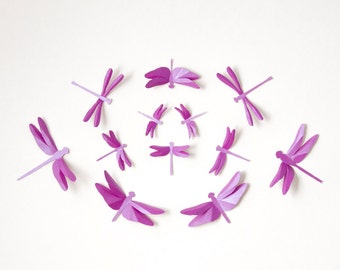 Dragonfly Wall Art: Paper dragonflies for woodland nursery, whimsical decor in radiant orchid