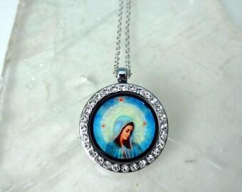 Holy Mother Locket Keychain