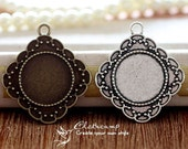 10Pcs 20mm  Antique Bronze/Antique Silver/ Cabochon Setting Cameo Base frame Base for making necklaces and pendants(SETHY-219)