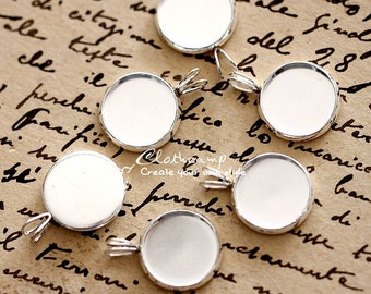 10Pcs 12mm Silver plated Raw Brass Round Cameo Base Setting Charm / Pendant (SETHY-198)